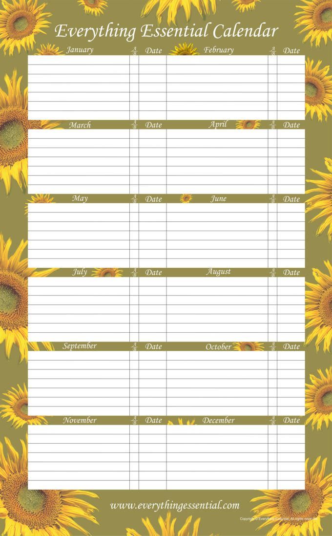 Everything Essential Birthday Calendars - Sunflower Green Birthday Calendars