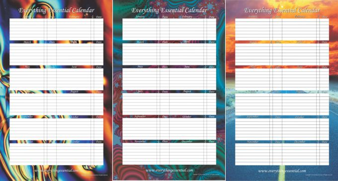 Liquid Crystal, Fun Fractal and Bright Abstract Everything Essential Birthday Calendars